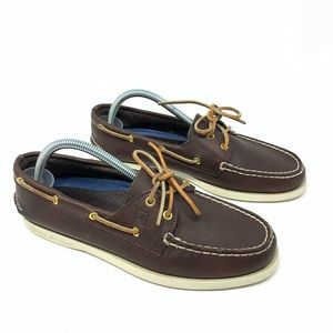 Sperry Topsider Leather Boat Deck Shoes Dark Brown